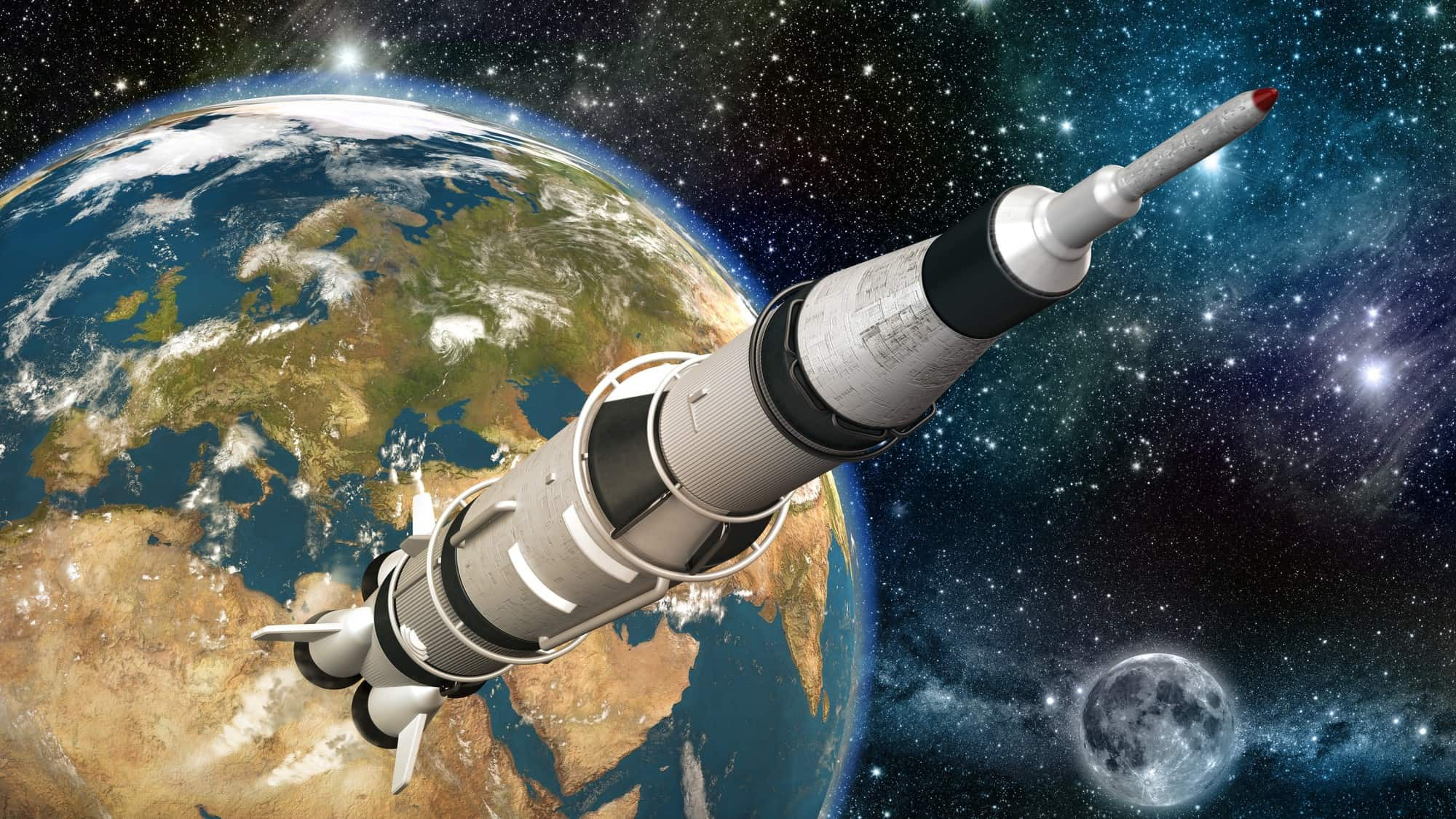 A rockets heads into space, indicating a share price rising 'to the 'moon'