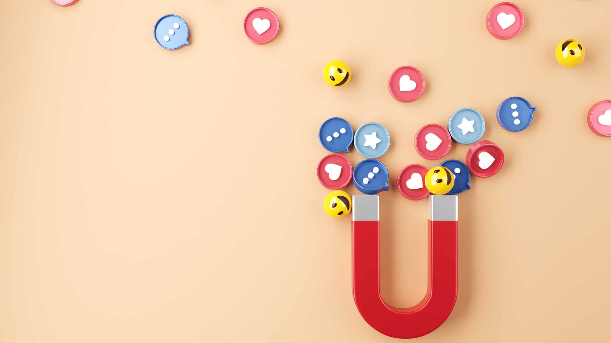 social media shares represented by magnet attracting various emojis