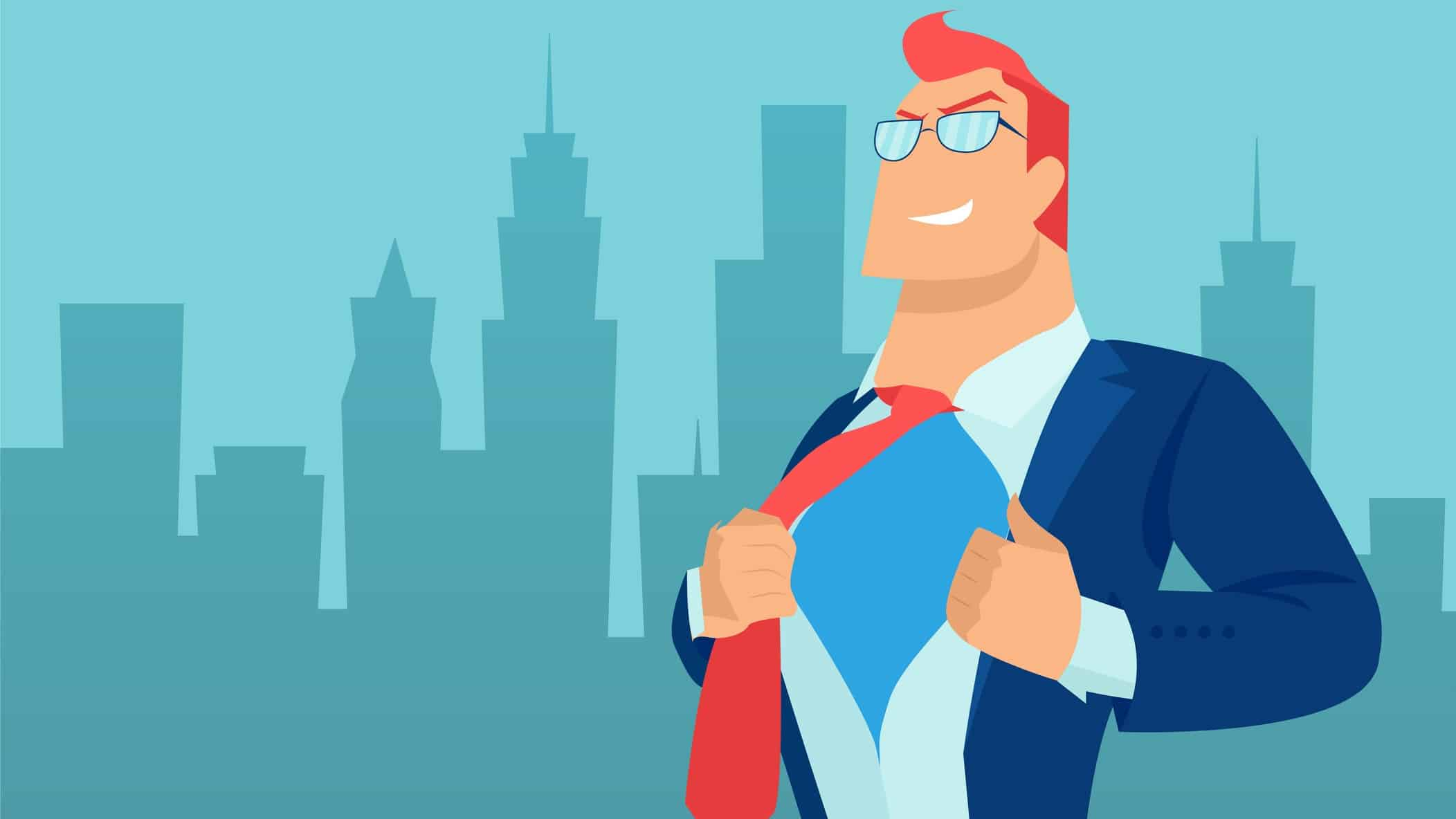 A drawing of a a superhero businessman in fron of a cityscape in silhoutte, indicating a share price earnings super cycle