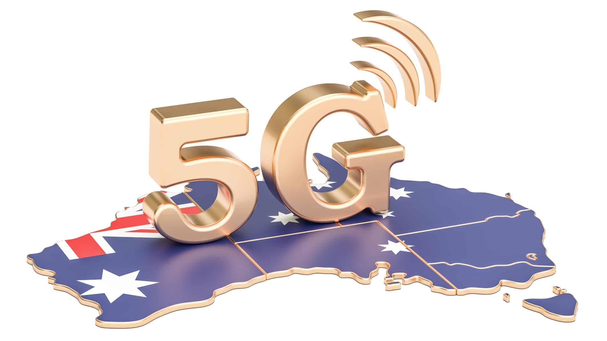 map of australia with golden 5G sitting on it representing telstra share price profit result