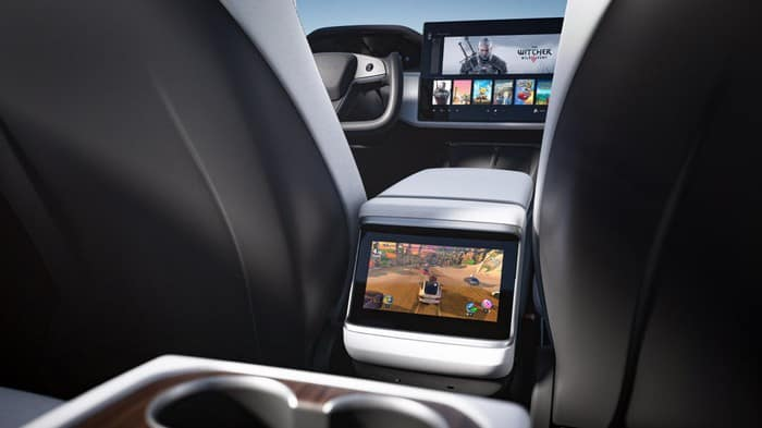 tesla stock represented by interior of Tesla vehicle