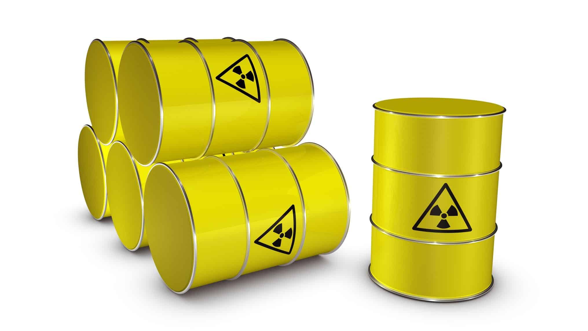 ASX uranium shares represented by yellow barrels of uranium