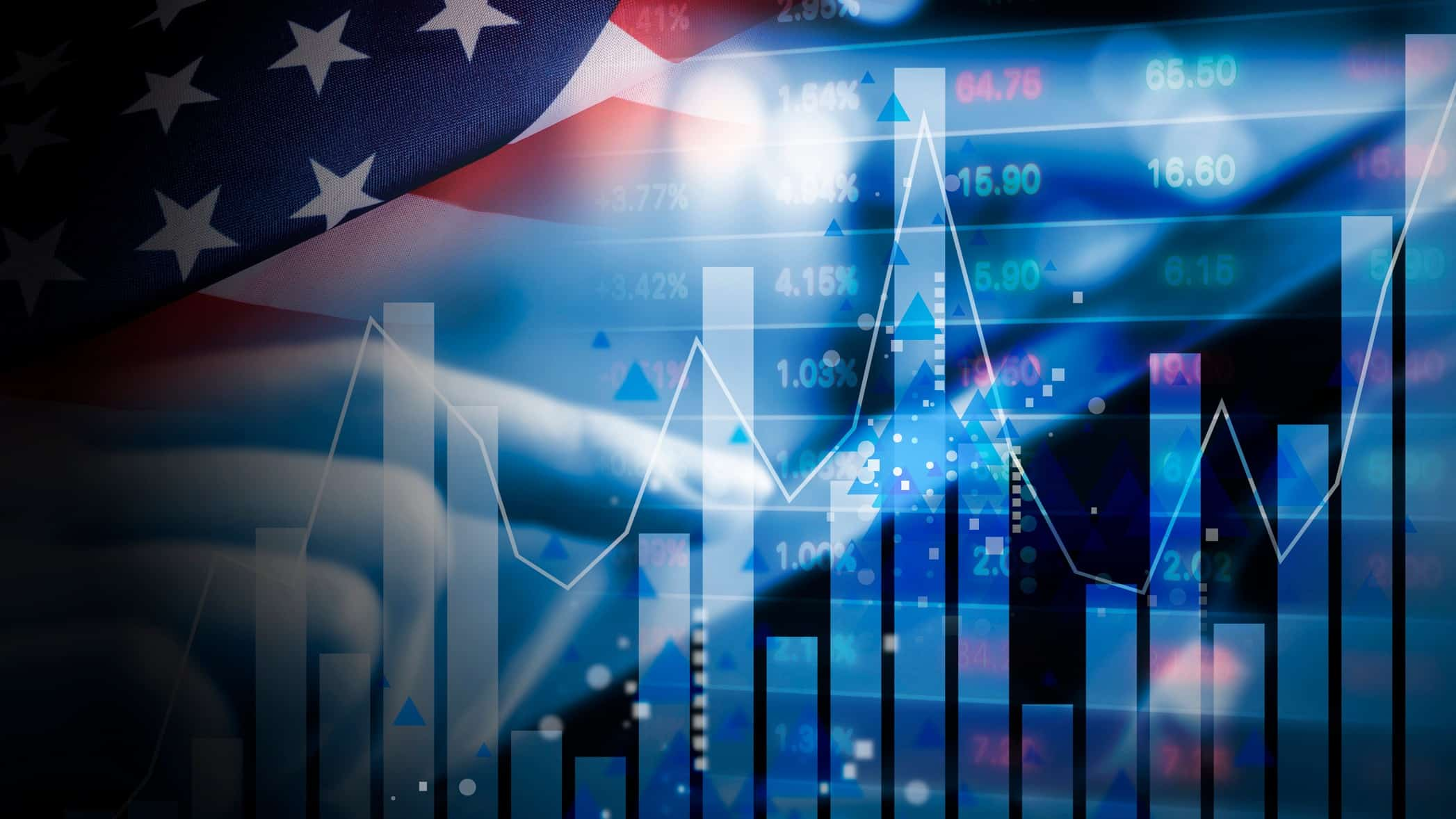 A US flag behind a graph, indicating investment in US shares