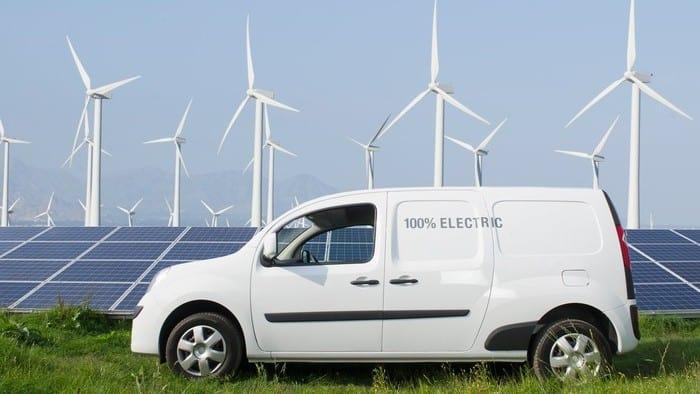 vehicle in wind farm setting