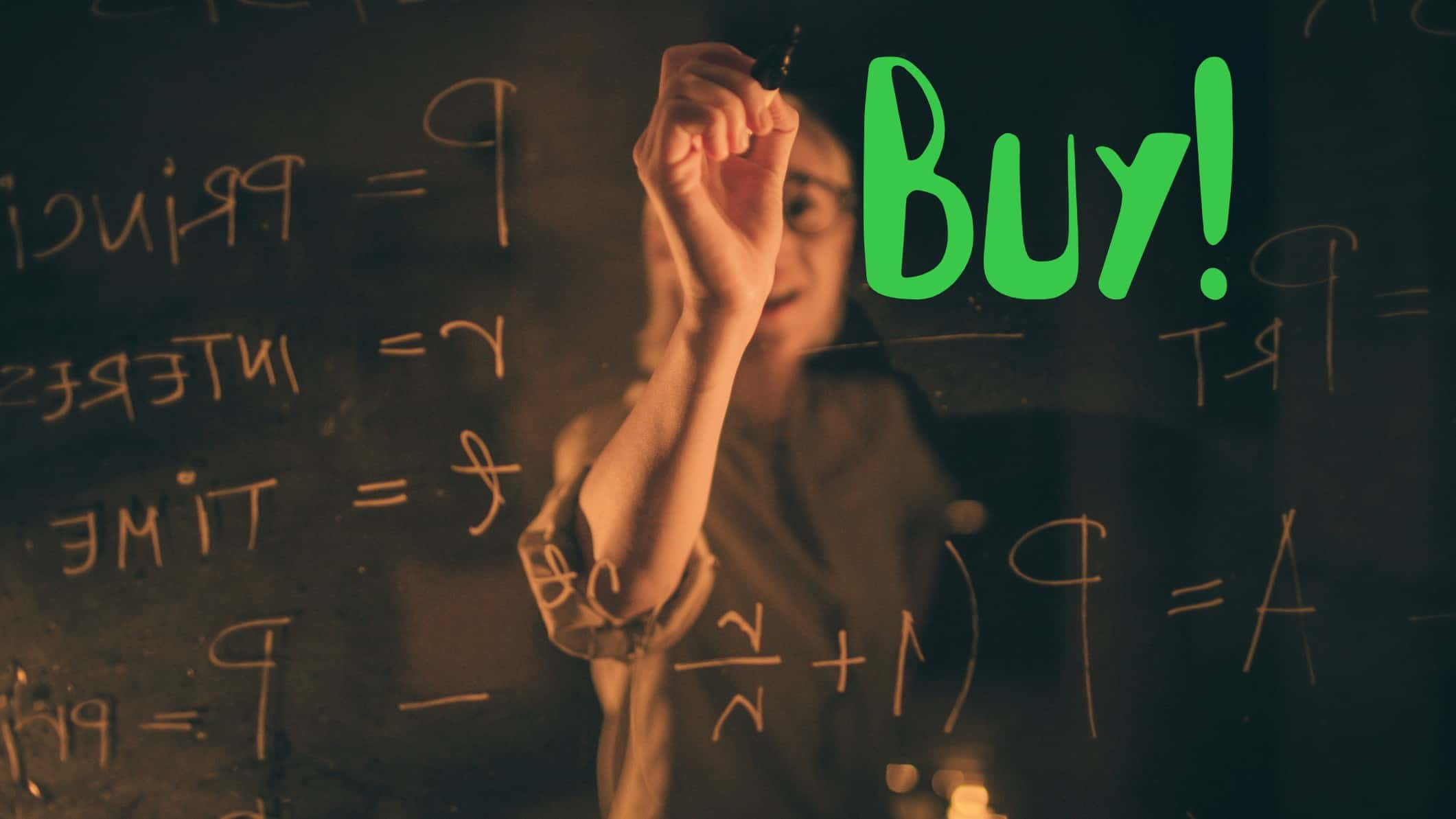 Woman in glasses writing on buy on board