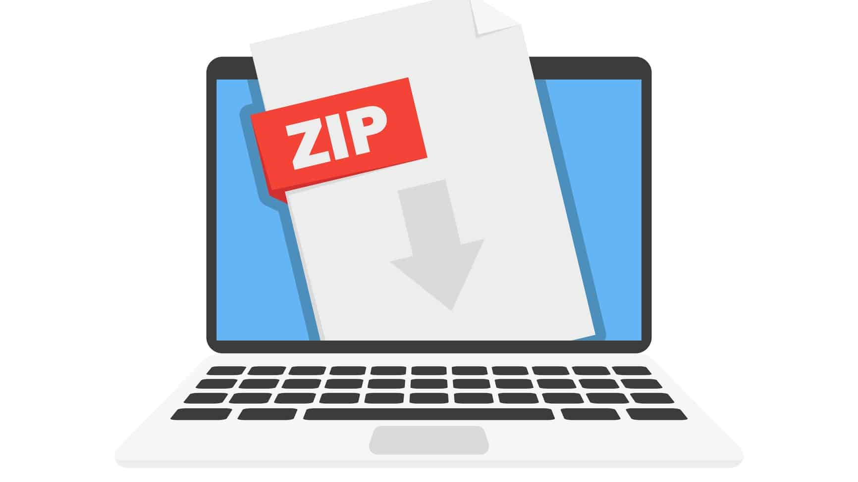 illustration of laptop with down arrow and the word zip representing falling zip share price